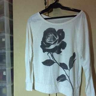 Forever 21 Long sleeved Rose Top
