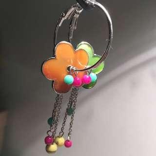 Hand-made Hoop Flower Dangly Earrings