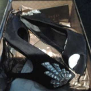 Gucci Suede Heels Embellished With Swarovski  Crystals