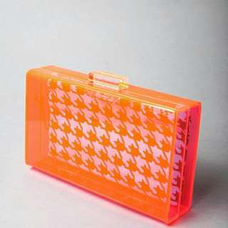 Pink Perspex Clutch With Inner