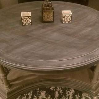 Tuscan Style Chalk Painted Round Coffee Table