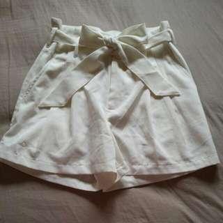 White Tie Up High Waist Flowy Shorts