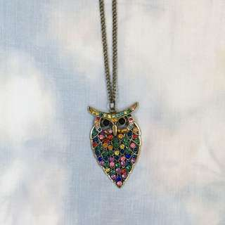 Vintage Colorful Owl Necklace