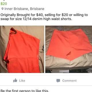 High Waisted Shorts Size 14