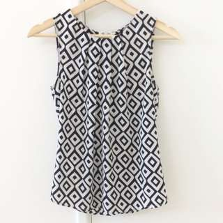 Sleeveless Top XS Black And White
