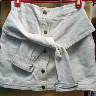 綁帶刷白牛仔短裙 A字裙 #轉轉來交換