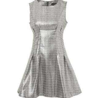 Topshop — Metallic Seam Shift Dress