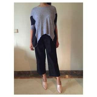 Zara Grey Shirt With Black Chiffon Sleeve