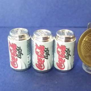 Out Of Stock CAN : Dollhouse Miniature : 3pcs of Coke Light  , Coca Cola Can Drink