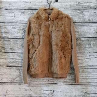 針織外鋪毛拉鍊外套