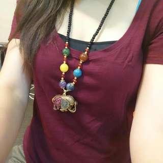 (節日優惠) 復古配飾頸鏈 - 彩珠象象