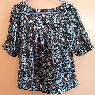 Blue Printed Formal Blouse