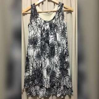 Black And White Print Tent Dress
