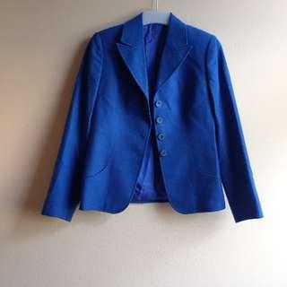 柏林古著👘秋冬毛呢墊肩套裝外套(皇室藍)