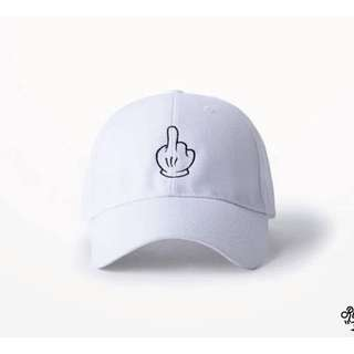 超可愛米奇中指 白色老帽 可自行調整大小 出清特價!!