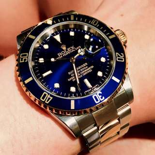 Rolex Oyster Perpetual Submariner Ref: 16613 Two Tone (Half Gold) Blue Sunburst Dial