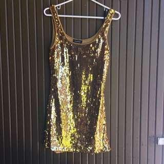 Gold Sequin Dress. BEBE