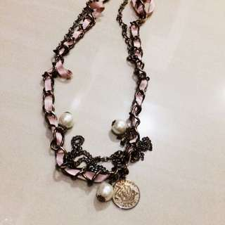 Kalung Necklace Pearl Pink Gold