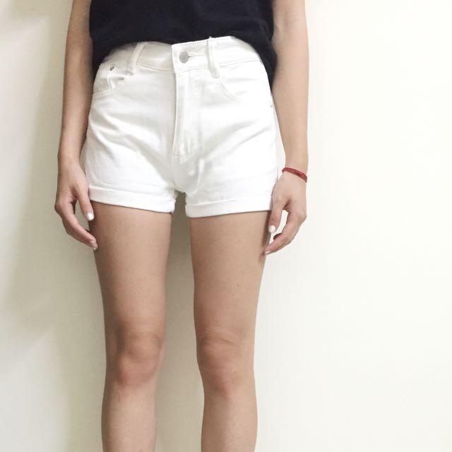 [全新]白單寧短褲