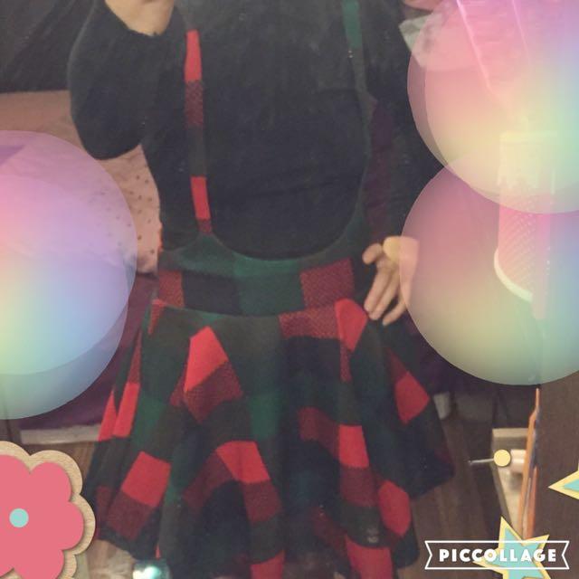 名媛針織纯色上衣+花色高腰大擺吊帶裙套装