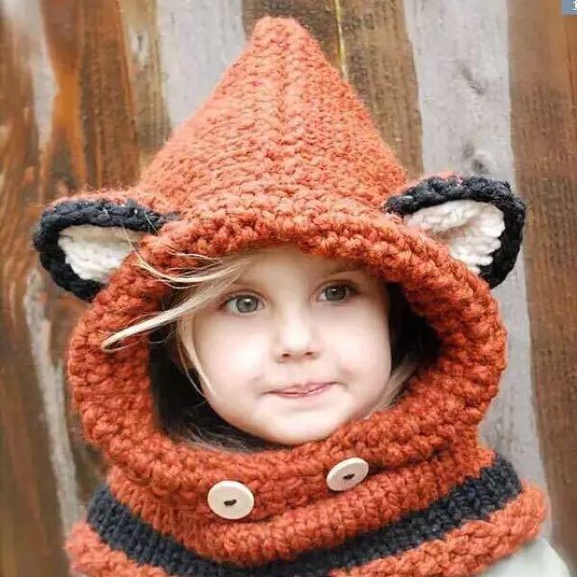 狐狸恐龍 小孩成人 小動物圍巾造型帽