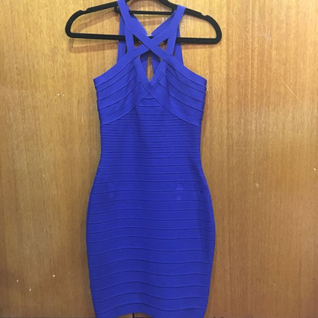 Bandage Bodycon Dress In Blue