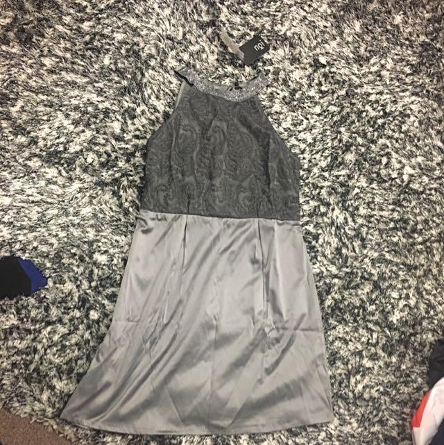 BNWT Grey/ silver Embellished Dress Size M
