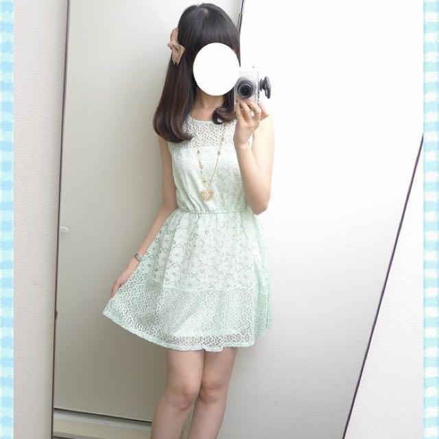 Emsexcite 綠色布蕾絲洋裝