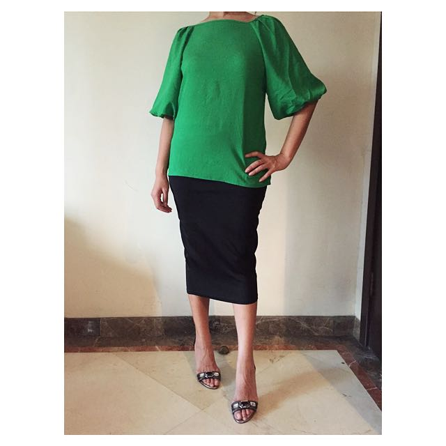 Green Blouse With Short Bell Sleeves