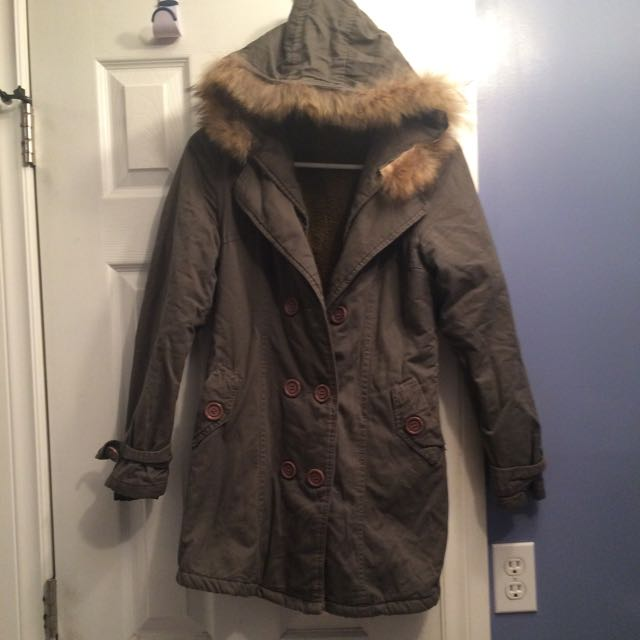 Grey Parka With Fur Hood Size Small