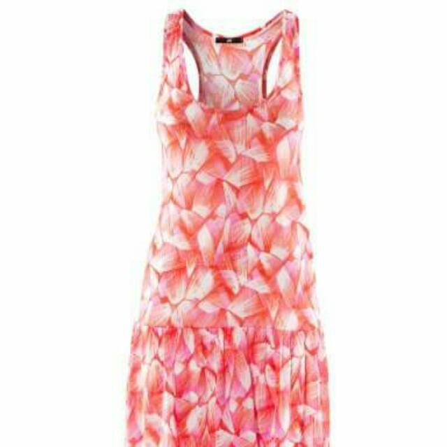 H&M Red Printed Flared Dress
