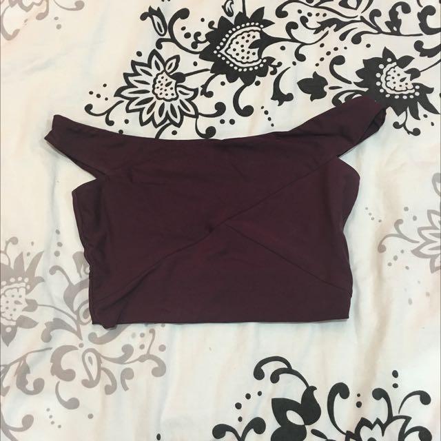 Kookai Off Shoulder Crop In Dark Purple
