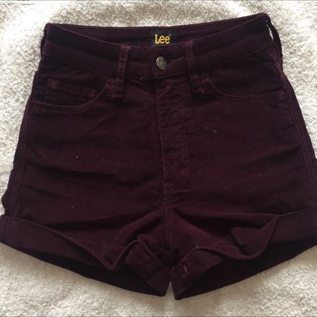 LEE Suede feel burgundy Shorts