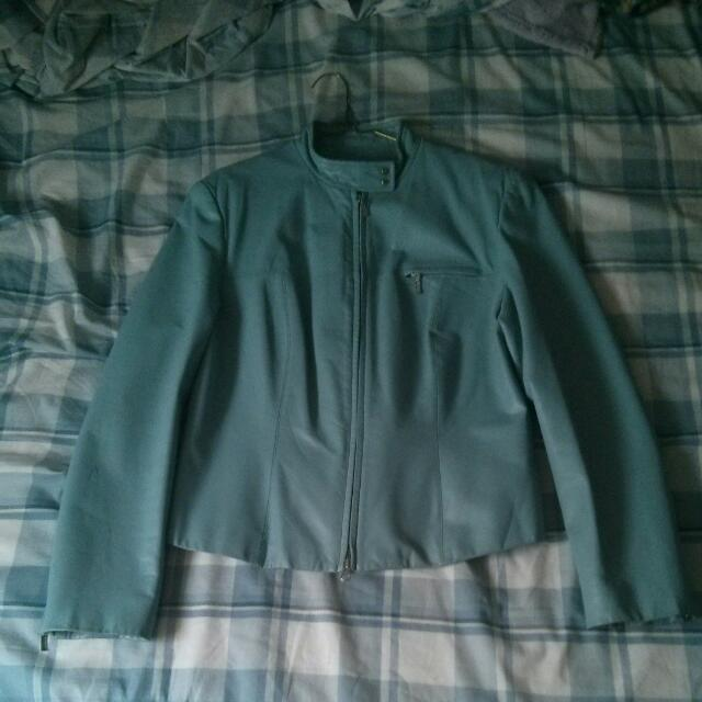 Light Blue Pleather Jacket