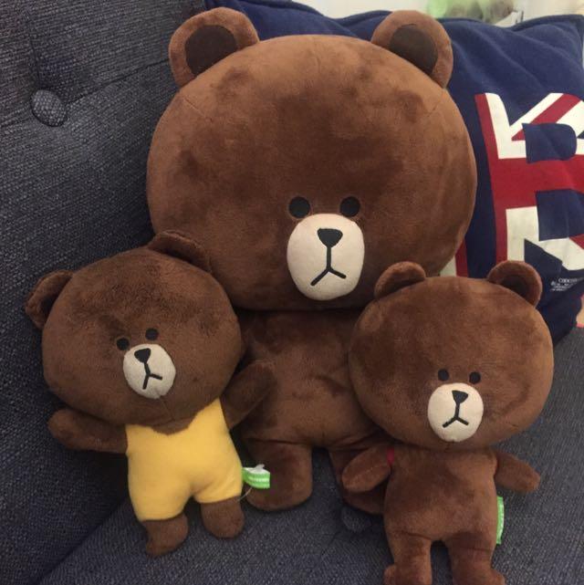 Line熊大玩偶 3隻ㄧ起賣