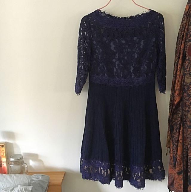 Navy Evening Lace Dress