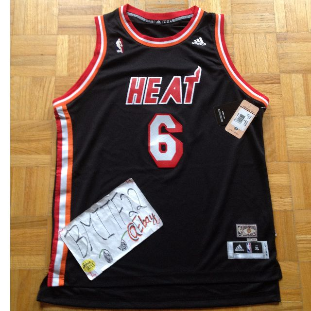 finest selection 342d0 5ed47 NWT NBA LeBron James Miami Heat Retro HWC Black Adidas R30 Swingman Jersey  Youth XL