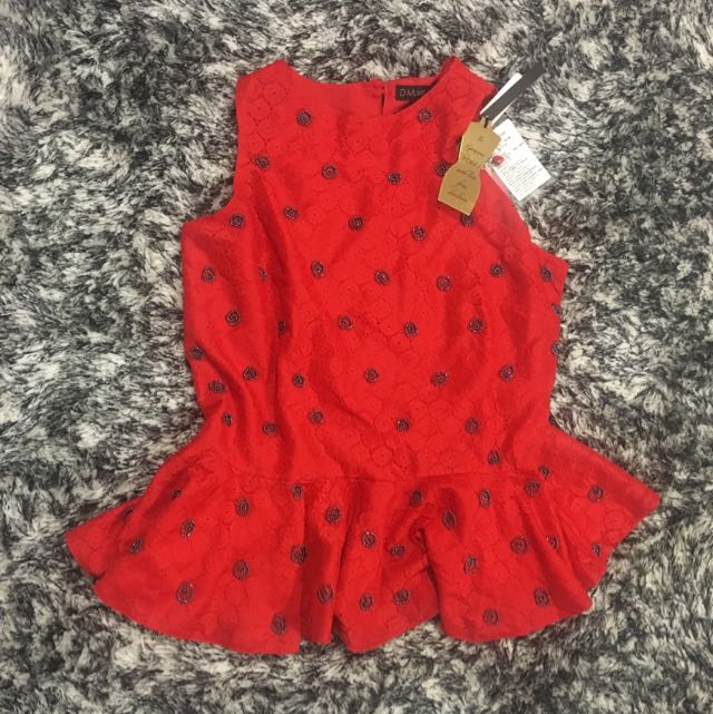 BNWT Red Peplum Embellished Top Size S