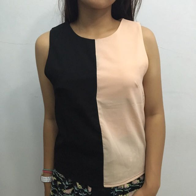 One May Black - Pink Sleveless Top