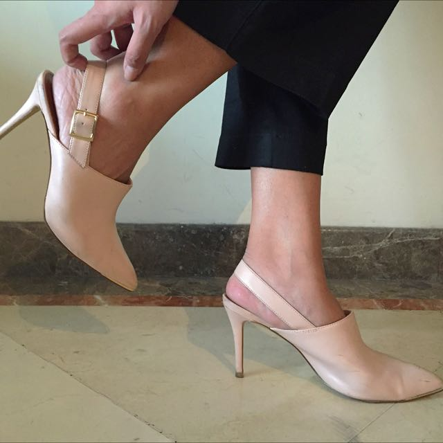 Pink Charles & Keith Pointed Mules