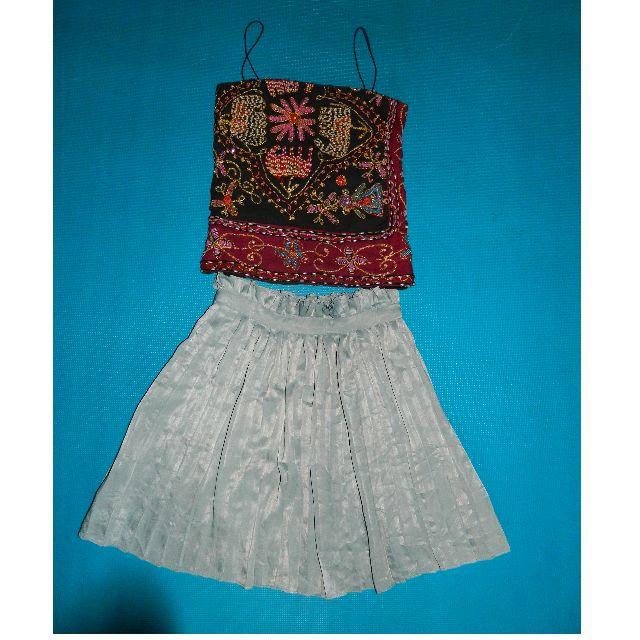 Pleated Skirt + Beaded Top