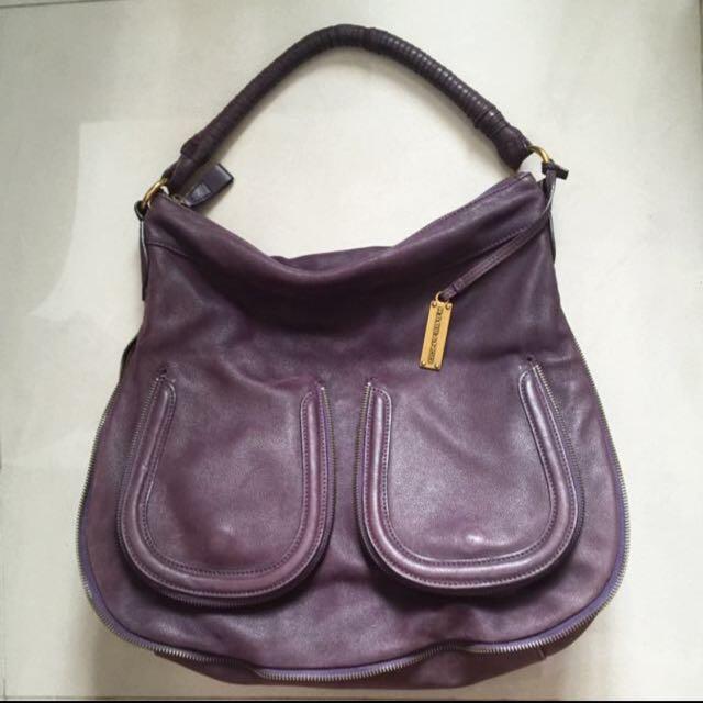 ❗️出清❗️Rabeanco 紫色牛皮肩背包