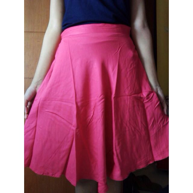 Rich Pink Flare Skirt