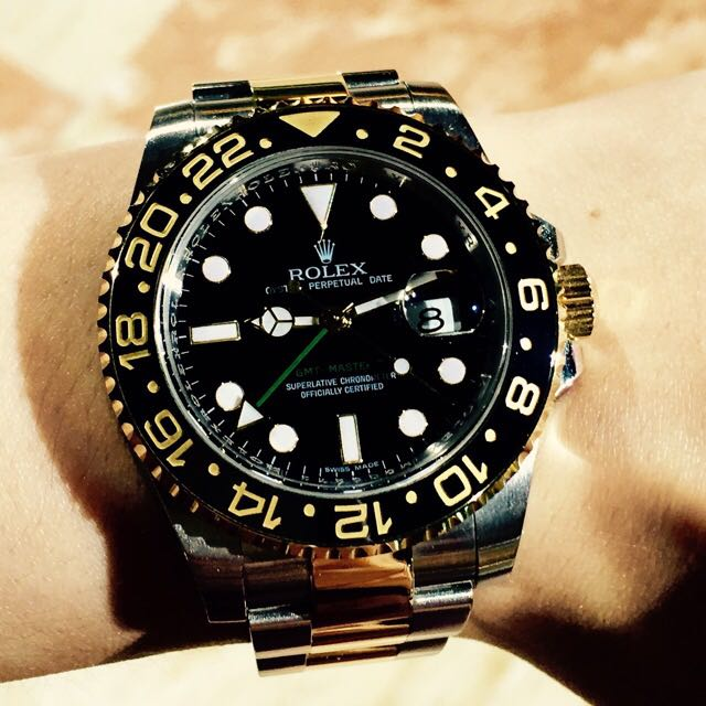 Rolex Oyster Perpetual Gmt Master Ii Ref 116713 Two Tone Half Gold