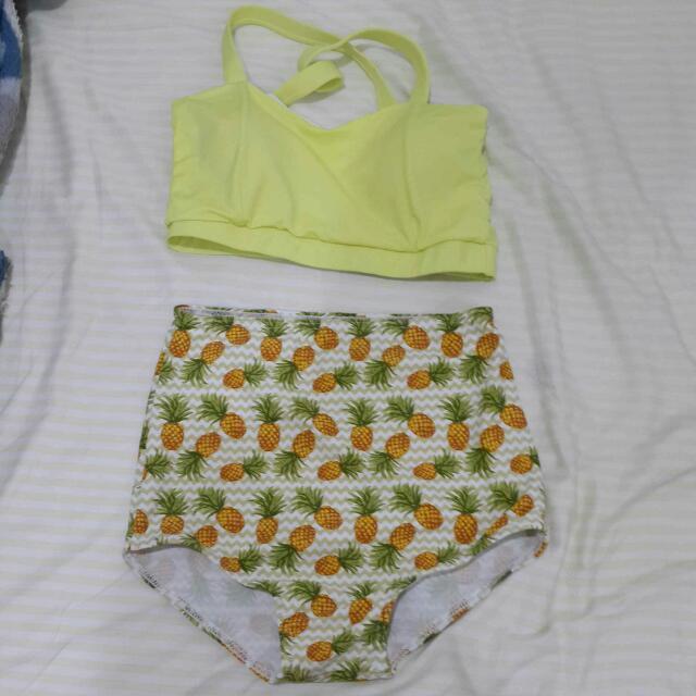 SALA搶購 黃色鳳梨兩截式泳衣 復古 高腰 比基尼 全新 僅試穿