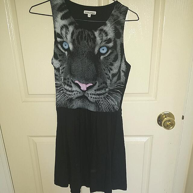 Tiger Face Black Dress