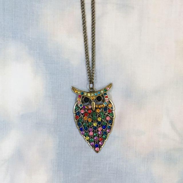 Vintage Colorful Owl Necklace