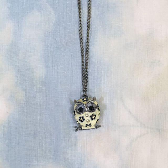 Vintage White Owl Necklace