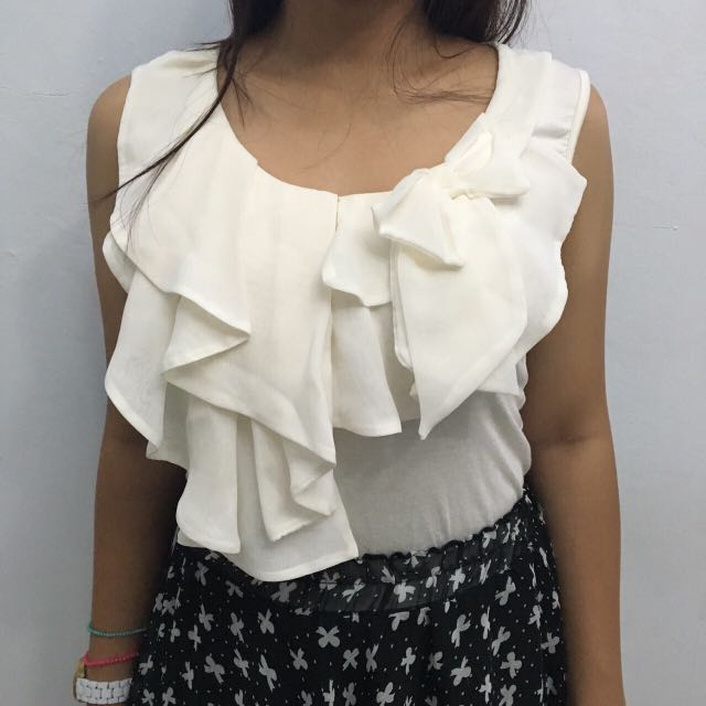 White Sleveless Top NEW WITH TAGS