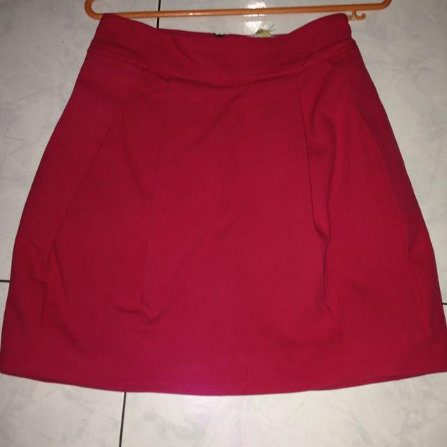 Zara Trf Red Skirt